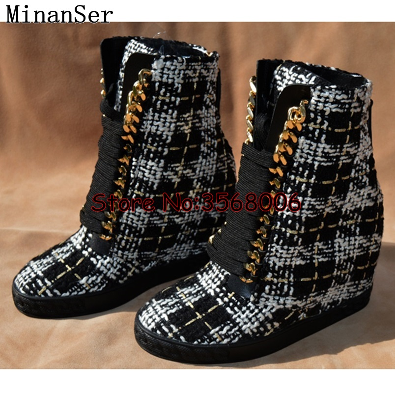 Multi color Leather Wedge Top Quality Rome Style Lace Up Women Motorycle Boots Outdoor Leisure Sneakers
