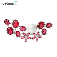 LUOTEEMI Brand New Arrival Copper Alloy Rhinestone Flower Brooches Pins Women Girl Gift Wedding Brooch  Rhodium Plated