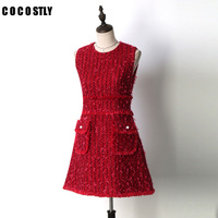 Women Red Tweed Sheath Dress With Fringe Tape Detail Autumn Bodycon Dress Winter Dress Women 2018 Mini Dress
