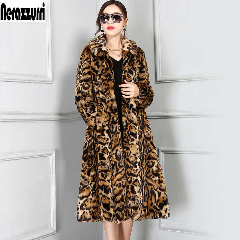 Nerazzurri Winter Faux Fur Leopard Coat Pleated Wave Skirt 2019 New Fashion Women Long Sleeve Withstring Overcoat Plus Size 5XL