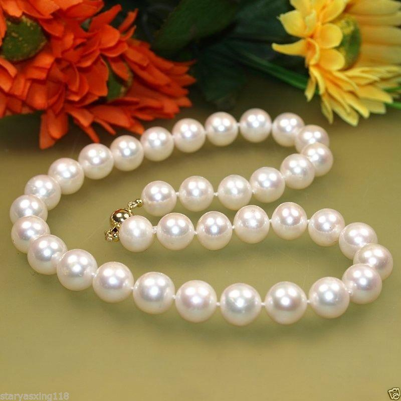 Fashion girl > NEW gold 9-10mm White Freshwater Cultured Pearl Necklace 18Fashion girl > NEW gold 9-10mm White Freshwater Cultured Pearl Necklace 18