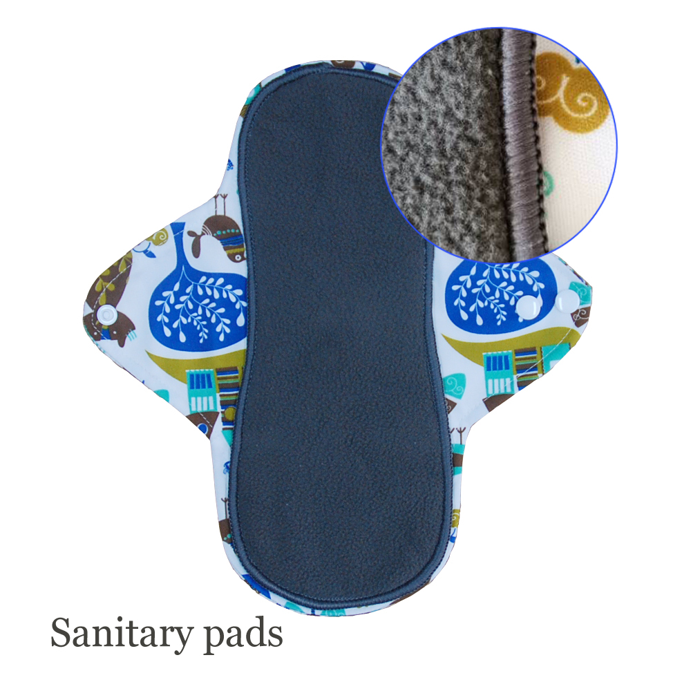 1 PC Washable Bamboo Charcoal Sanitary Napkins Women Feminine Hygiene Pads Absorbent Reusable Menstrual Pads Night Panty Liners