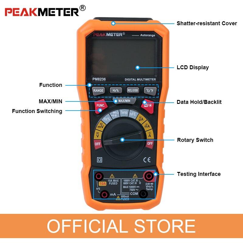 Oficialus PEAKMETER PM8236 automatinis rankinis diapazono - Matavimo prietaisai - Nuotrauka 4