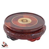 Special Offer Solid Wood Carved Rosewood Mahogany Handicraft Circular Base Of Buddha Stone Flowerpot Vase Furnishing