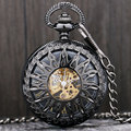 High Quality Fashion Cool Black Sun Flower Hollow Case Roman Number Skeleton Mechanical Pocket Watch with Chain Men Women Gift