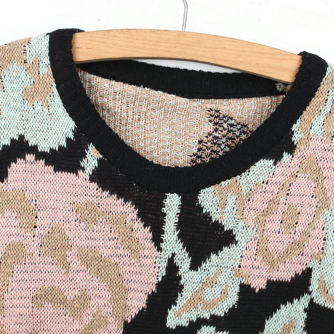 ef2670f7ee9 US $44.02 |Fashion Women Rose Flower Pattern Floral Jumper Hole Oversized  Crochet Knit Warm Sweater 2 Colors-in Pullovers from Women's Clothing on ...