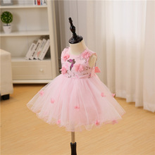 Baby Dress Newborn 0-2 Yeals Baby Clothing Appliques Pink Lovely Princess First Birthday tutu Infant Dresses Vestido Infantil