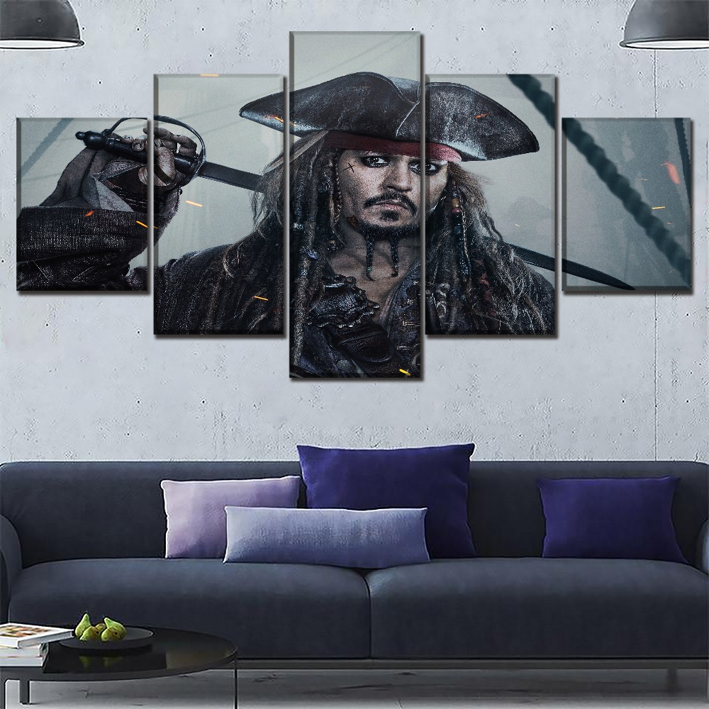 Modern Artwork 5 Panel Movie Pirates Of The Caribbean Poster Wall Art Home Decorative Dead Men Tell No T Canvas Print Painting