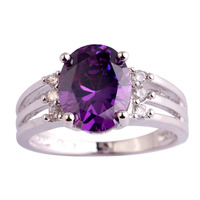 Women Jewelry New Fashion Handsome Oval Cut Amethyst & White Sapphire 925 Silver Ring Size 6 7 8 9 10 Wholesale Free Shipping
