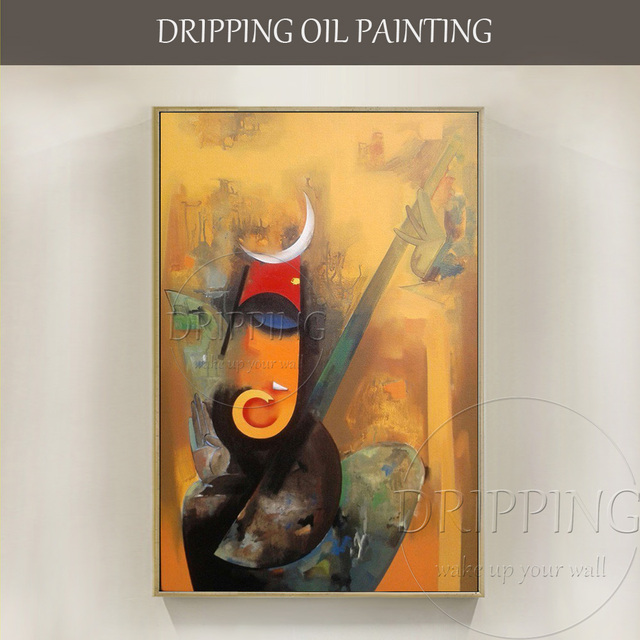 Hand Painted Special Indian Art Ganesh Oil Painting On Canvas Handmade Abstract God