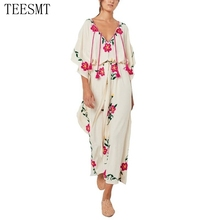 New bohemian people split tassel long maxi dress women beach floral embroidery dress hippie chic boho party dress Vestidos robes