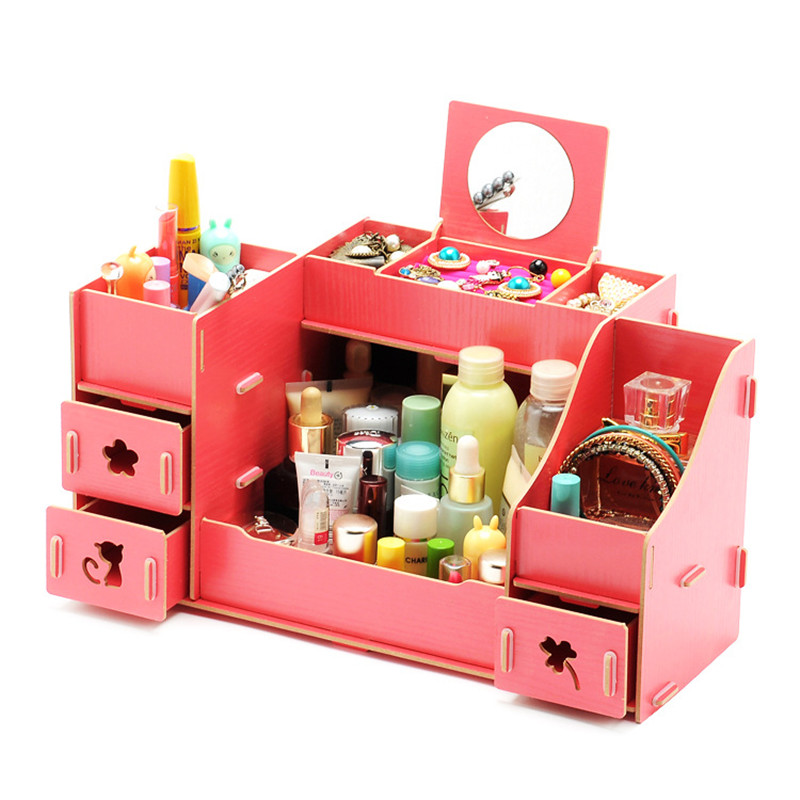 Creative Diy Wooden Cosmetic Storage box Multi-function Cardboard Office Desktop Storage Boxes Makeup Organizer  Box With Drawer taza de m&m