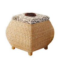15%,Natural straw storage shoe bench with cover storage stool finishing storage box wearing shoes footrest sofa square stool