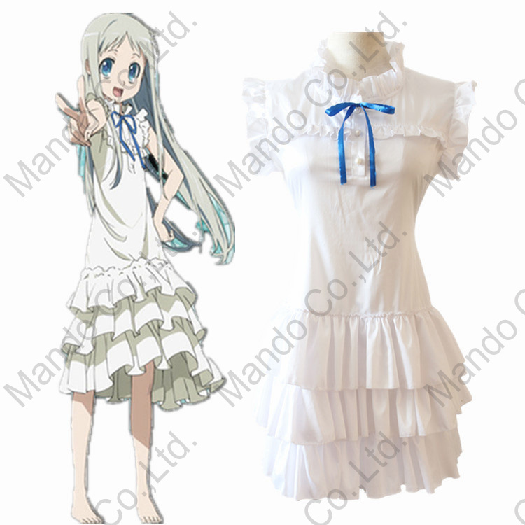 anime Anohana Menma Honma Meiko cosplay costume we still don't know the name of the flower we saw that day Girls halloween dress