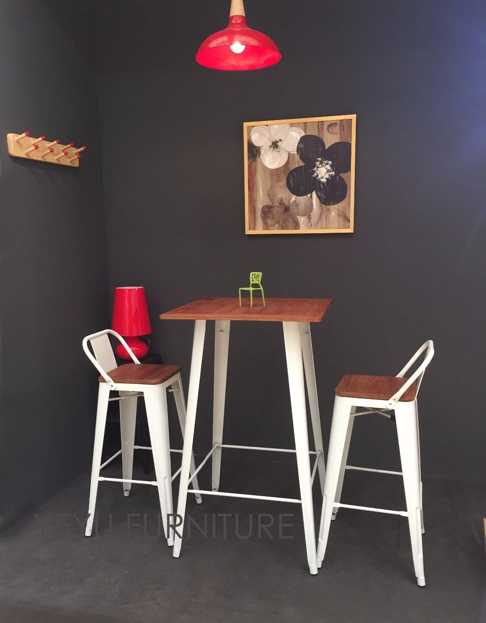 Minimalist Modern Design Low Back Outdoor Metal Steel Bar Stool With Teak Wood Seat Commercial Bar Furniture Set Bar Table Steel Bar Stools Bar Stoolbar Stools Design Aliexpress