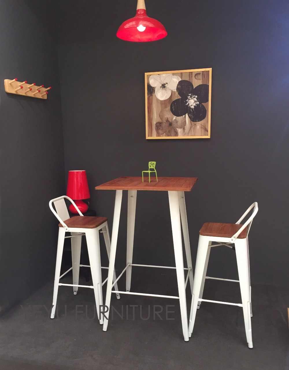 Minimalist modern design low back outdoor metal steel bar stool with teak wood seat commercial bar