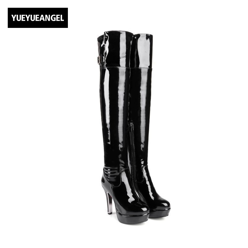 New Women Fashion High Heel Shoes Side Zipper Patent Leather Round Toe For Women Winter Over The Knee Boots Tjin Heel Platform 2017 new arrival winter plush genuine leather basic women boots knight zipper round toe low heel knee high boots zy170904