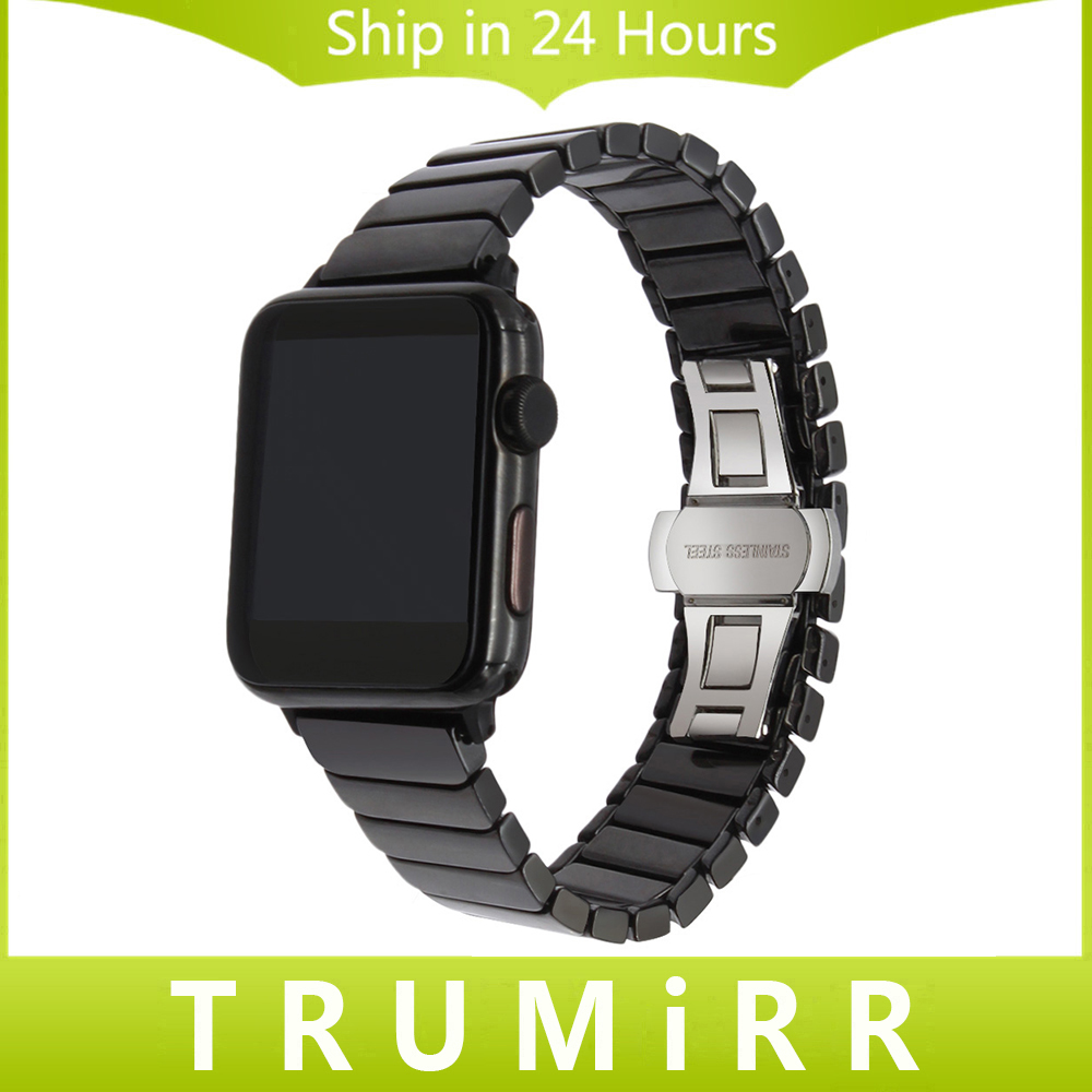 Glossy Ceramic Watchband +Tool for iWatch Apple Watch 38mm 42mm Wrist Band Link Strap Butterfly Clasp Wrist Bracelet Black White for samsung gear s2 classic black white ceramic bracelet quality watchband 20mm butterfly clasp