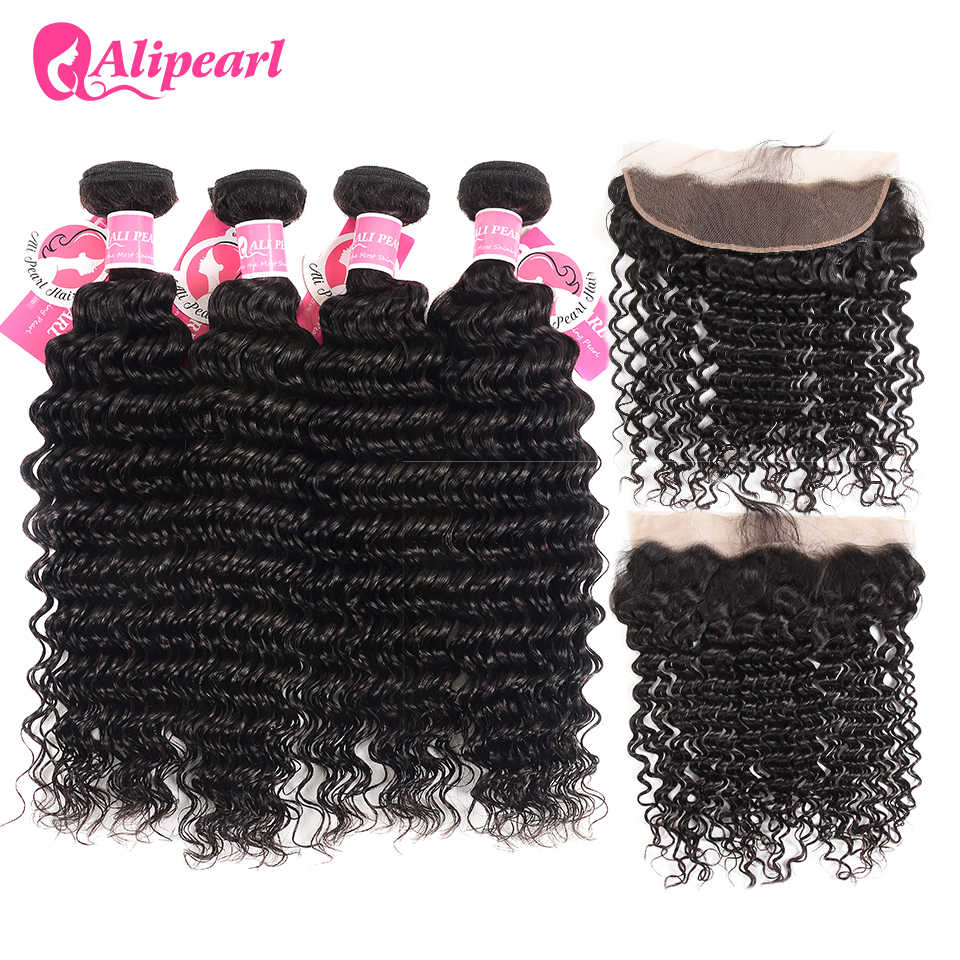 Alipearl Hair Brazilian Deep Wave Bundles With Frontal Human Hair Lace Frontal Closure With Bundles 4PCS Natural Color Remy Hair