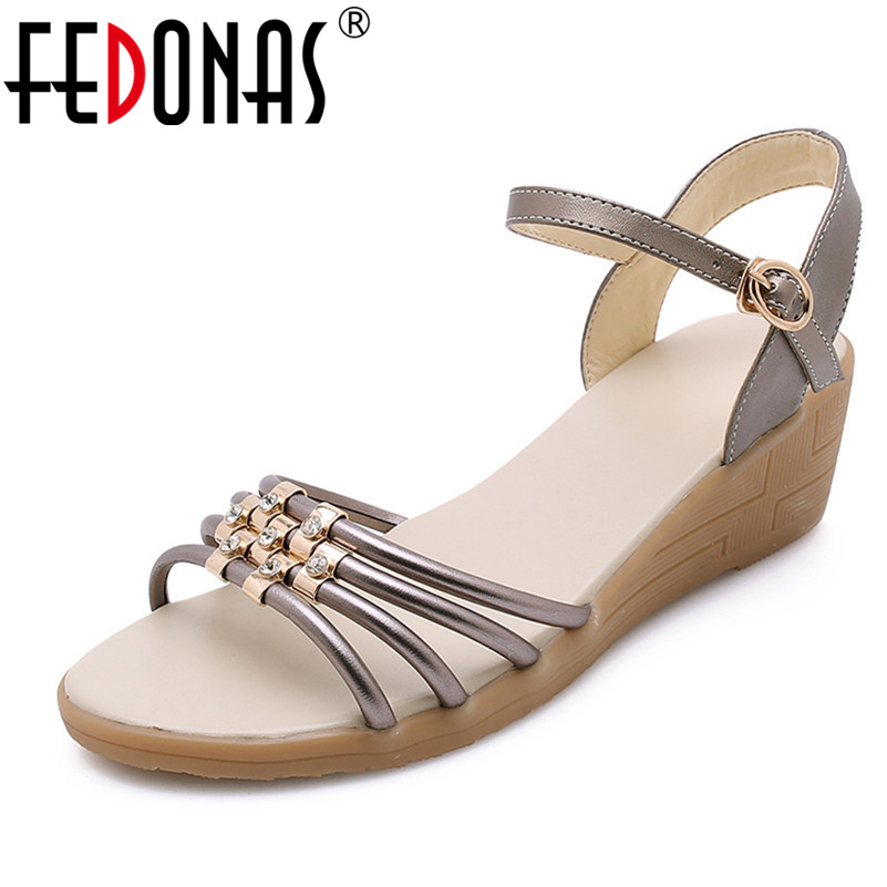FEDONAS 2019 Summer New Round Toe Wedges Single Shoes Woman Genuine Leather Buckle Women Sandals Comfortable Breathable Shoes