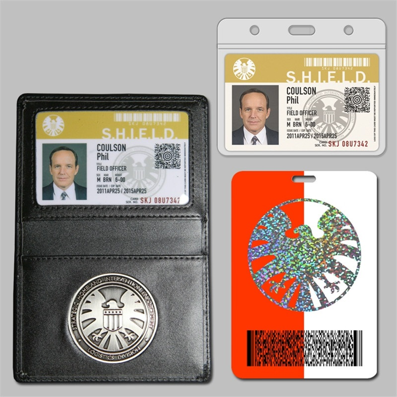 Tous les Agents du bouclier S.H.I.E.L.D. Insigne de bouclier en métal et carte d'identité étui en cuir véritable porte-monnaie 1:1 cadeau Cosplay