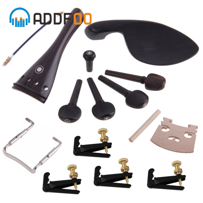 ADDFOO 4/4 Ebony violin Accessories Parts Set With Tailpiece Pegs + Chinrest Maple Bridge Set For Violins Replacement Parts|Violin Parts & Accessories|   - AliExpress