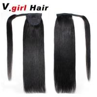 V.Girl Hair Human Hair Ponytail 100g Clip In Human Hair Extensions Straight Ponytail Extensions Remy Human Ponytails 14 26