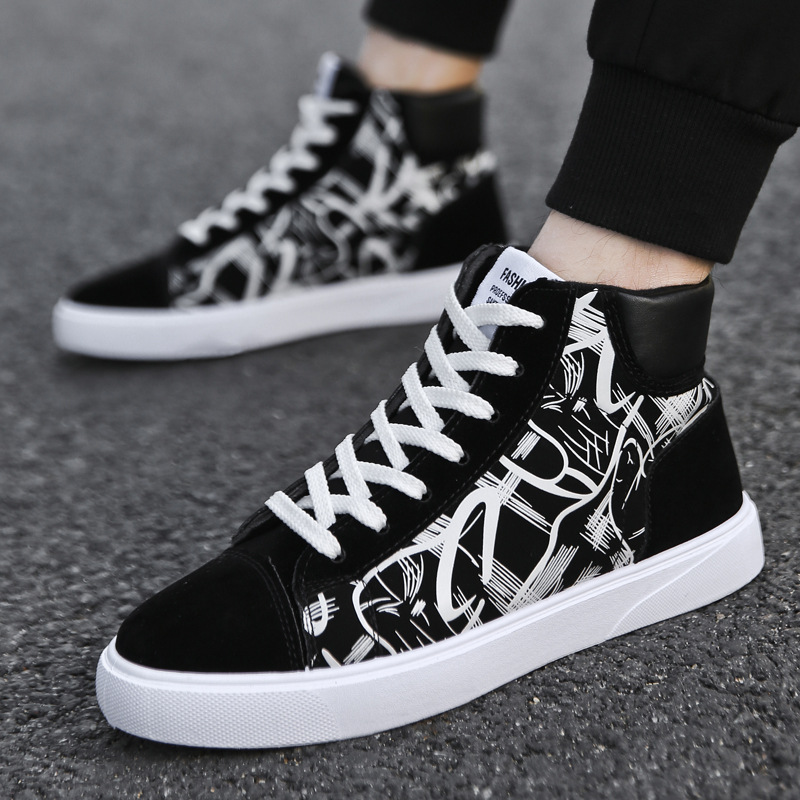 Men's High-top Canvas Skateboarding Shoes Sports Shoes Outdoors Casual Sneakers Breathable Leisure Flats Shoes Chaussure Homme