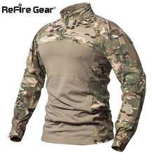 ReFire Gear Tactical Combat Shirt Men Cotton Military Uniform Camouflage T Shirt Multicam US Army Clothes Camo Long Sleeve Shirt(China)