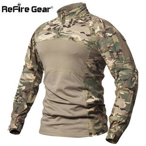 ReFire Gear Men Cotton Military T Shirt Clothes Long Sleeve