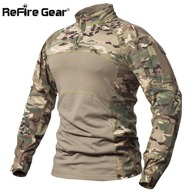 550f720da30485 ReFire Gear Tactical Combat Shirt Men Cotton Military Uniform Camouflage T  Shirt Multicam US Army Clothes Camo Long Sleeve Shirt