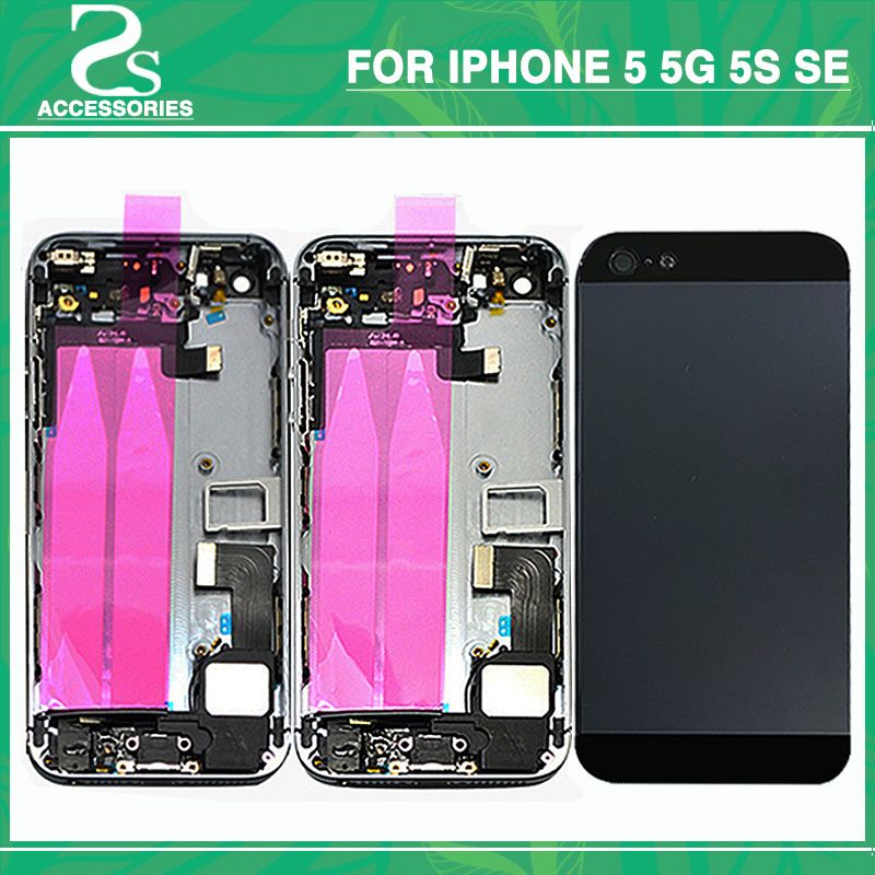 Full Housing Battery Cover For IPhone 5 5G 5S SE Battery Door Middle Frame Bezel Chassis Back Cover With Flex Cable+Print IMEI