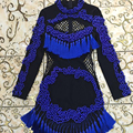 Sexy Bandage Dress 2016 Summer New Fashion Daily Blue Beading Tassel Full Sleeve Above Knee Dress