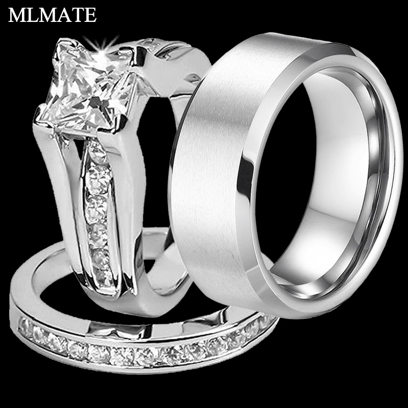 ce9e78cf69 Princess Cut Cubic Zirconia Couples Rings Stainless Steel Wedding Ring Set  for Women and Men Party