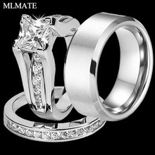 2c819c377a Princess Cut Cubic Zirconia Couples Rings Stainless Steel Wedding Ring Set  for Women and Men Party Jewelry Wholesale
