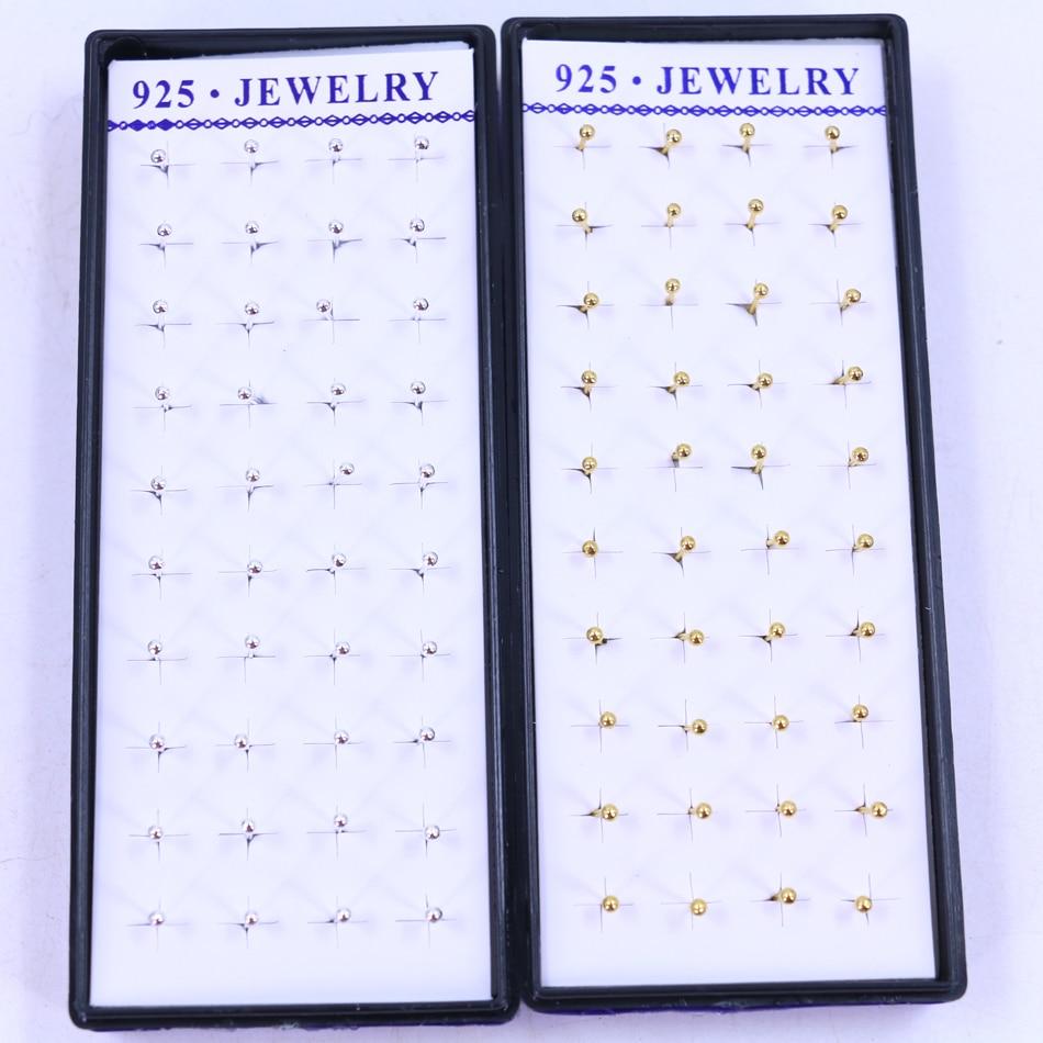 Frete grátis moda jóias barato bonito 2mm mini brincos esmalte bola de cobre orelha studs banhado com imitação de prata ouro 20 par