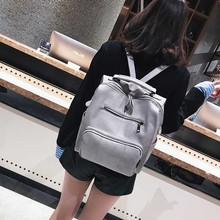 Women Leather Backpack Female Teenage Girls School Backpacks Vintage Large Multifunction Mochila Solid Shoulder Bag Black