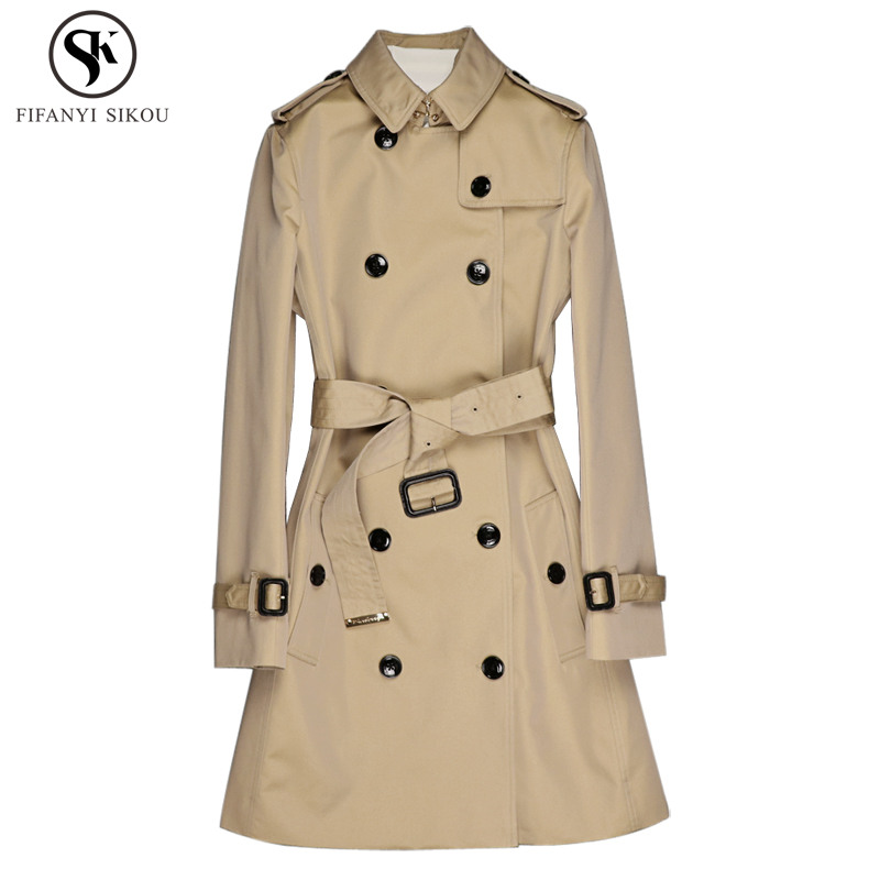 2018 Autumn Fashion England Style High end Classic Double Breasted Trench coat women Windproof Waterproof Casual