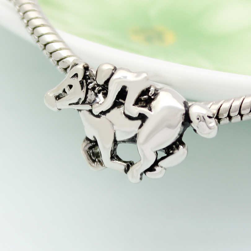 Aleación de Zinc caballo carreras jugador abalorios hechos a mano DIY joyería accesorios amuleto Fit Pandora pulsera collar