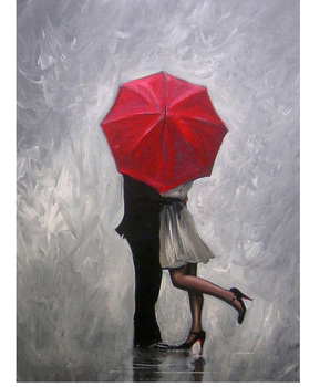Handmade Modern Abstract Wall Decor Fine Art Acrylic Oil Painting Perfect Love Red Umbrella Hand painted Artwork Canvas Painting