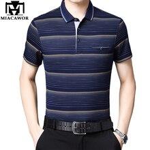 Miacawor летняя рубашка поло с коротким рукавом Мужская модная полосатая рубашка Повседневная футболка Homme Camisa Masculina T793