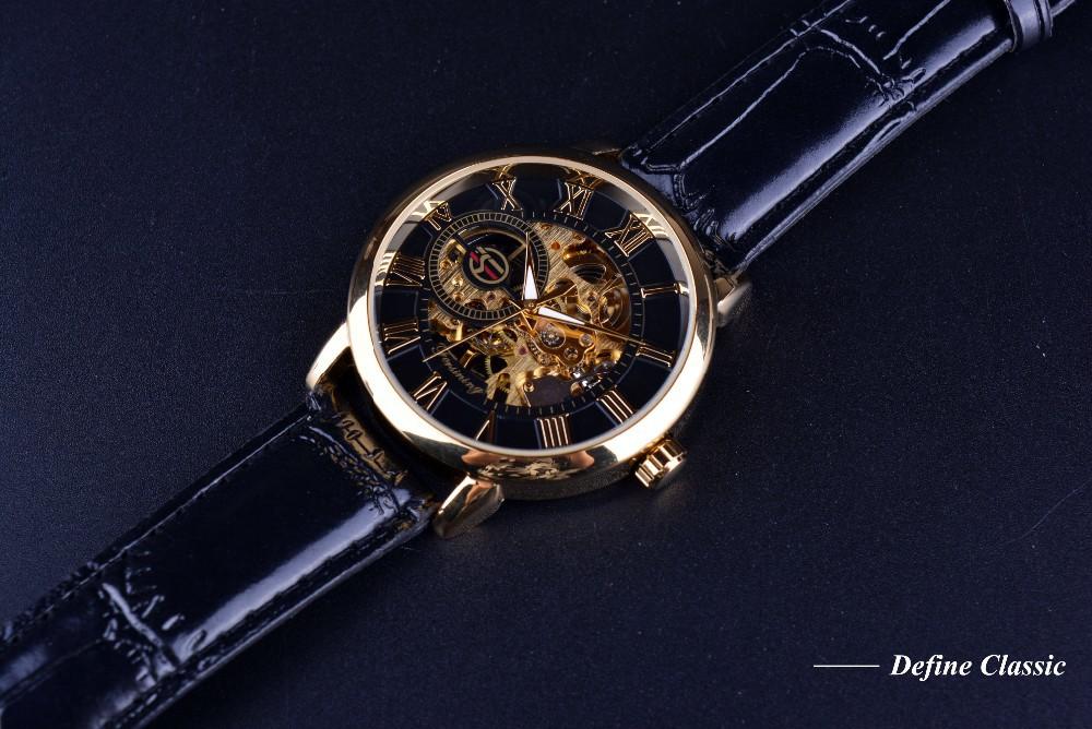 Forsining 3d Logo Design Hollow Engraving Black Gold Case Leather Skeleton Mechanical Watches Men Luxury Brand Heren Horloge 6