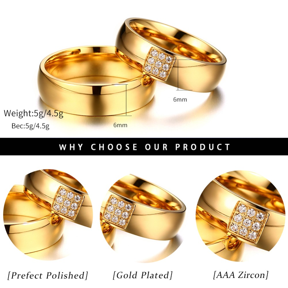 fd80a33f65 KISS MANDY Gold Stainless Steel Couple Promise Rings With 9 Pcs ...