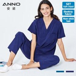 ANNO Nurse Uniform Non Stick Hair fabric Pet Hospital Clothes Medical Scrubs Set  Doctor Suit Surgical Gown New Elastic Cloth