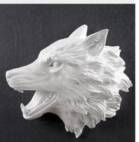 a Creative Wolf Head Wall Decoration Statue Simulation of animals Resin Crafts Living room bedroom wall sticker Retro Home decor