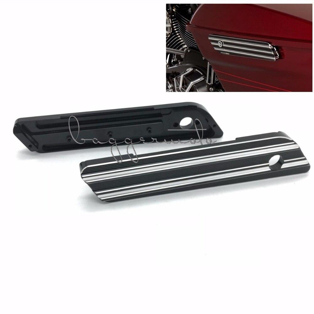 Motorcycle Parts Black CNC Billet Aluminum Saddlebag Latch Cover For Harley FLT Touring Models 2014-2016 edge cut billet saddlebag latch cover harley touring hard bags 1993 2013 parts