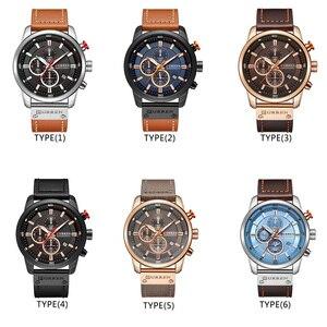 Image 5 - relogio masculino CURREN Men Watch Top Brand Luxury Chronograph Waterproof Sport Male Clock Leather Military New Wristwatch 8291