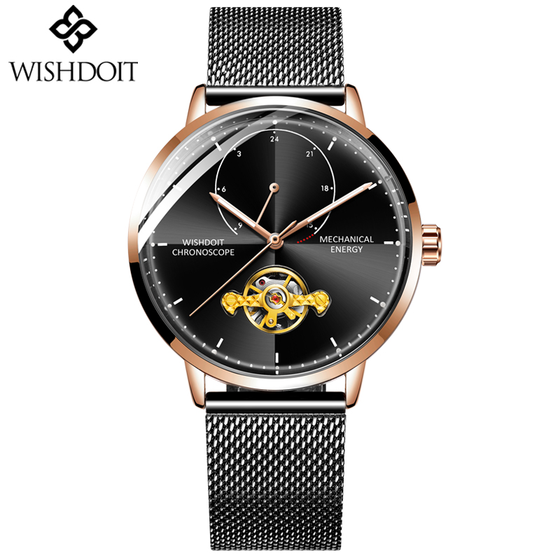 WISHDOIT NEW Watch Men Luxury Brand Tourbillon Automatic Mechanical Watches Make Casual Business Watches Relogio Masculino in Mechanical Watches from Watches