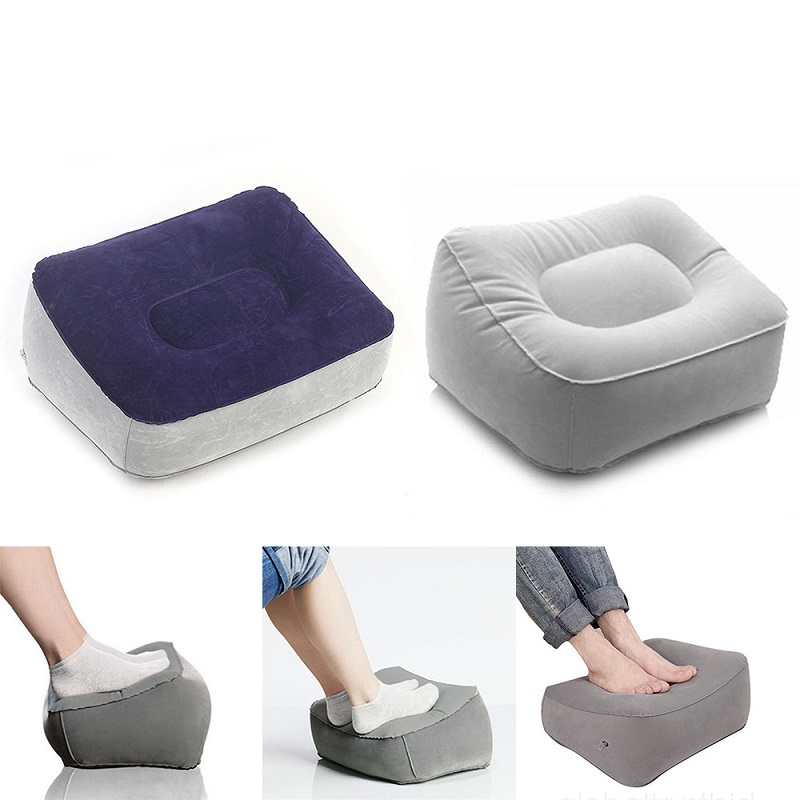 PVC Flocking 2 Color Inflatable Foot Pillow Inflatable Foot Rest Pillow Cushion Car Train Office Flights Portable Comfortable