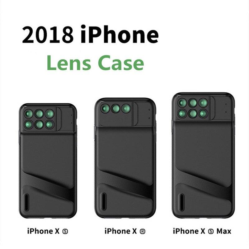 Pour iPhone Xs Max étui Xr 2018 housse d'objectif HD Fisheye grand Angle objectif appareil Photo Kit 3-en-1 Portable interrupteur Profession amateur de Photo